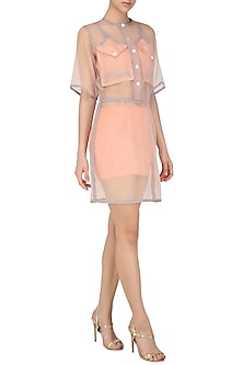 Pink Sheer Front Open Dress by Echo