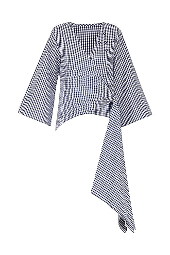 Blue and White Gingham Checked Wrap Top by Echo