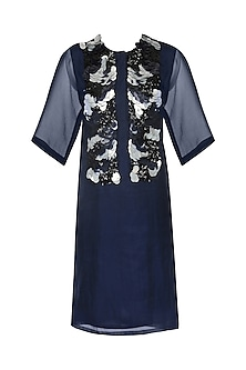 Navy Blue Sequins Embroidered Dress by Echo