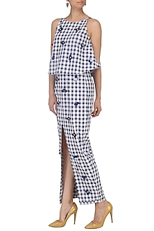 Blue and White Checked Maxi Dress by Echo