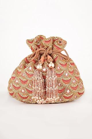 Pink Hand Embroidered Potli Bag by EENA