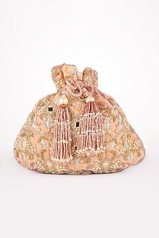 Pink Zardosi Hand Embroidered Potli Bag by EENA