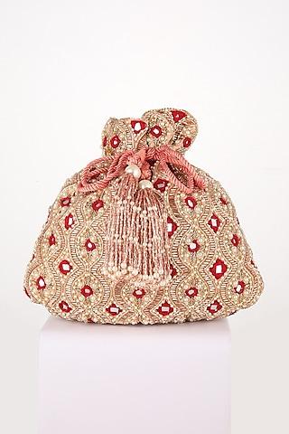 Pink Hand Embroidered Potli by EENA