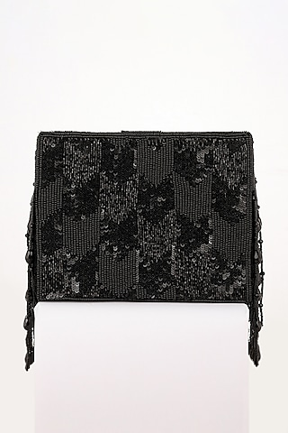 Black Hand Embroidered Clutch by EENA
