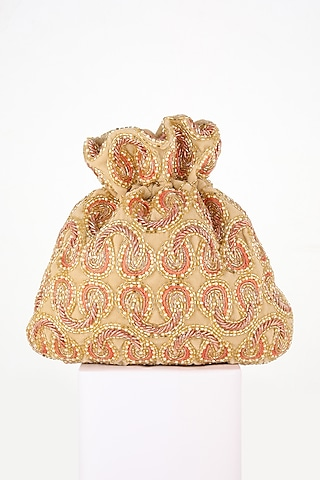 Fawn Hand Embroidered Potli by EENA