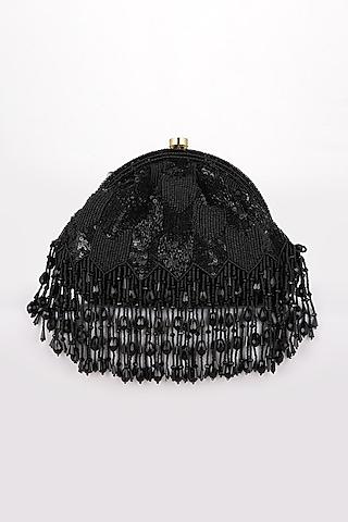 Black Sequins Hand Embroidered Clutch by EENA