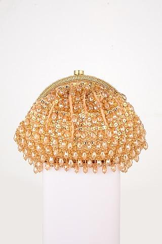 Golden Sequins Hand Embroidered Clutch by EENA
