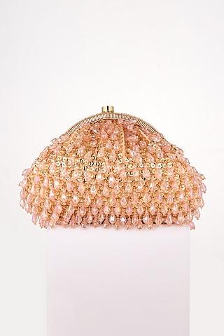 Pink Sequins Hand Embroidered Clutch by EENA
