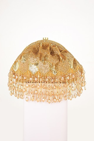 Golden Hand Embroidered Clutch by EENA