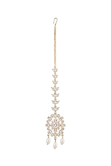 Gold Plated Cz Stone Maang Tikka by AETEE