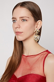Gold Plated Cz Stone Earrings by AETEE