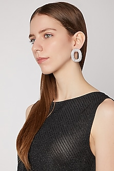 White Finish Stud Earrings by AETEE