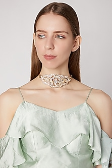 Gold Plated Pearl Choker Necklace by AETEE
