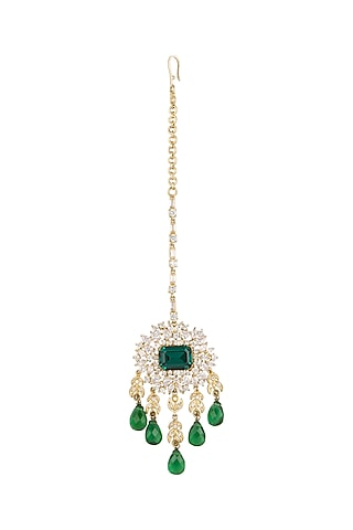 Gold Plated Emerald Green Stone Maang Tikka by AETEE