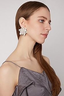 Gold Plated Pearl & Stone Earrings by AETEE