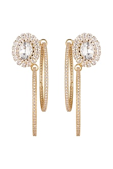 Gold Finish Cz Hoop Earrings by AETEE