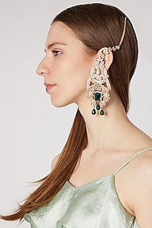 Gold Finish White & Deep Green Earrings by AETEE