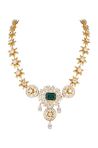 Gold Finish Cz Necklace by AETEE