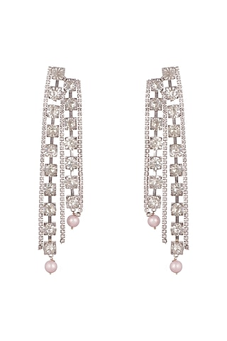 Gold Finish Cz & Pearl Earrings by AETEE