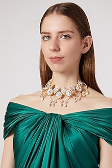 Gold Finish Choker Necklace With Cz Stones by AETEE