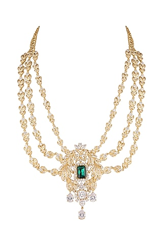 Gold Finish Cz Necklace With White & Green Stones by AETEE