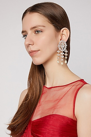 Gold Finish Pearl Drop Earrings by AETEE