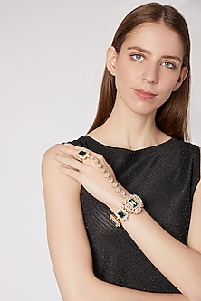 Gold Finish Cz Hand Harness by AETEE