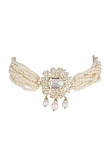 Gold Finish Cz Choker Necklace by AETEE
