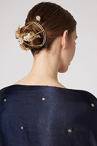 Gold Finish Cz Hair Bun by AETEE