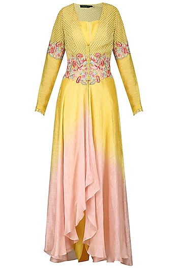 Yellow and Pink Embroidered Tunic with Dhoti Pants by Inchee tape