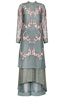 Ash Blue Embroidered Kurta with Palazzo Pants by Inchee tape