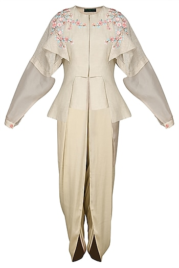 Light Beige Embroidered Jacket with Dhoti Pants by Inchee tape