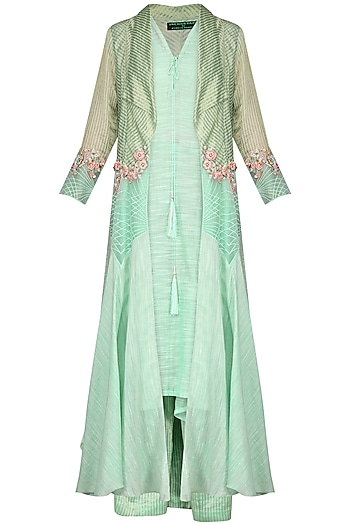Mint Green Embroidered Tunic with Palazzo Pants and Jacket by Inchee tape