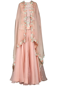 Pink Embroidered Lehenga with Cape by Inchee tape