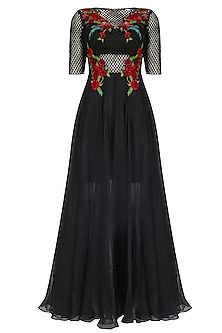 Black Jaal and Floral Embroidered Dress by Inchee Tape