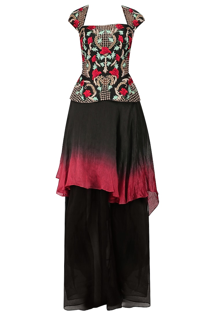 Black and Red Floral Embroidered Peplum Top and Ombre Skirt Set by Inchee Tape