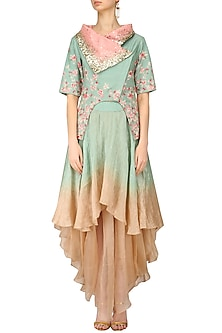 Blue Floral Embroidered Cutout Jacket and Ombre Layered Skirt Set by Inchee Tape
