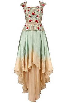 Beige Floral Embroidered Peplum Top and An Ombre Layered Skirt Set by Inchee Tape