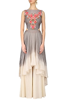 Grey and Off White Floral Embroidered Kurta and Palazzo Set by Inchee Tape