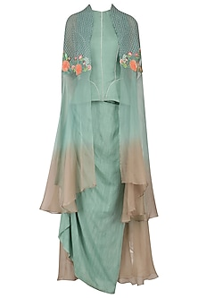 Blue Ombre Floral Embroidered Cape with Peplum Corset and Drape Skirt by Inchee Tape