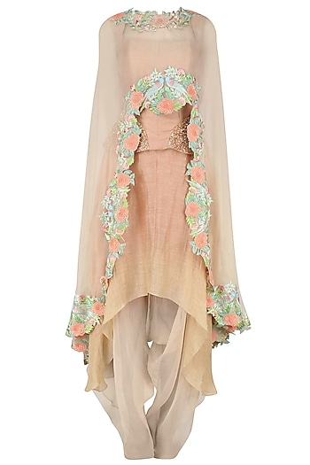 Beige High Low Floral Embroidered Cape with Corset and Layered Skirt by Inchee Tape