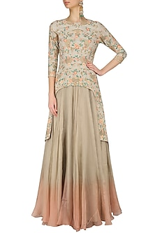 Beige Cut Out Floral Embroidered Kurta and Flared Skirt Set by Inchee Tape