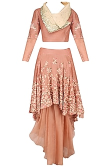 Peach Floral Embroidered Crop Top and High Low Embroidered Dhoti Skirt Set by Inchee Tape