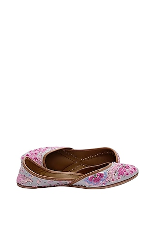 Pink Embroidered Jutti by EHZI