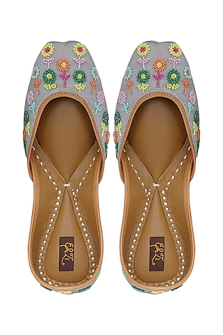 Multi Colored Embroidered Jutti by EHZI