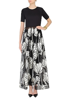 Black and White Floral Encroaching Maxi Dress With Trouser Pants by Eshaani Jayaswal