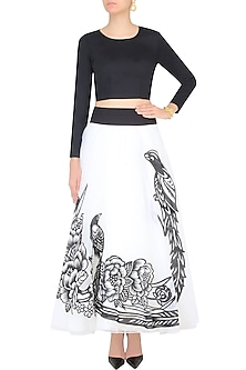 White Iron Fairies Skirt and Black Full Sleeves Crop Top Set by Eshaani Jayaswal