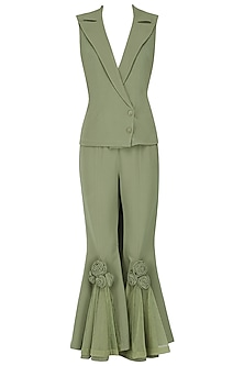 Olive Green Appliqued Pants with Blazer by Eshaani Jayaswal