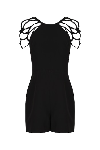 Black Embroidered Romper by Eshaani Jayaswal