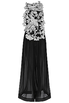 Black Oriental Bird Print Embroidered Gown by Eshaani Jayaswal